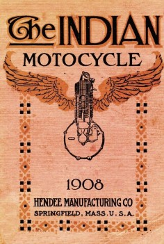 "Indian originally began manufacturing under the corporate banner of the Hendee Manufacturing Company, which was later reincorporated as the Indian Motocycle Company (an apparent nod to the European style of ""Moto"" motorcycle company names —  Moto-Guzzi), early Indians were inspired by Hedstrom's work with ""pacing"" bicycles"