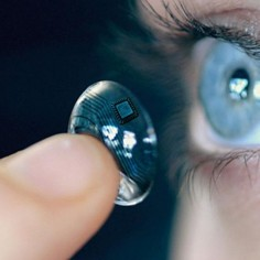 iOptik contact lens for HUD/augmented reality. Display systems built into the lens and allows user to see both the projected image/data and real surroundings in focus simultanesously.