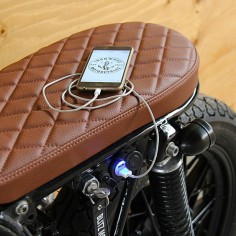 Ironwood Motorcycles custom USB device charger with seriously nice cafe racer seat.