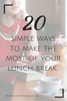 It's proven that taking a lunch break can increase productivity, concentration and creativity, and as little as 20 minutes can make all the difference.  Here are 20 simple ways to make the most of the time you have whether you're doing the side hustle thing or a full time solopreneur.