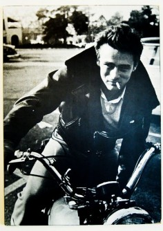 James Dean, actor. Dean bought a Triumph TR5 Trophy, the last bike he rode before he died.