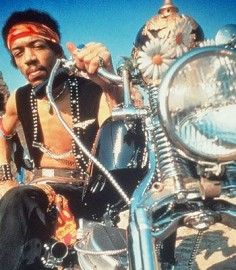 Jimi Hendrix - This musical legend died at 27 years old, leaving behind only 4 completed albums. They don't talk much about him and his motorcycle but Jimi rode a 1964 Chopped Harley-Davidson Panhead. He was the 20th Century's electric guitar master. Jimi Hendrix was innovative and his style combined fuzz, feedback and controlled distortion to make his sound so distinctive. If you followed him you would know that he couldn't read or write music.
