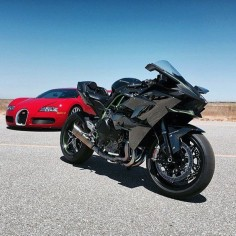 kawasaki H2R 2015 and Veyron