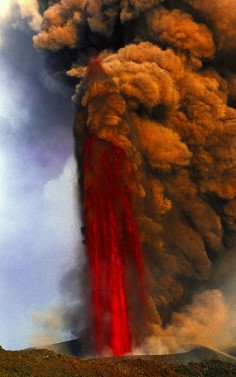 Lava fountain of Mt Etna volcano