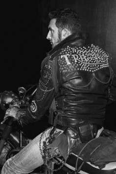 leather motorcycle jacket, cafe, studs, patches, rocker, greaser