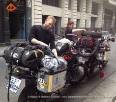 Leaving Buenos Aires, Argentina for the first day of our motorcycle journey to Alaska 2 doctors riding from Argentina to Alaska for charity