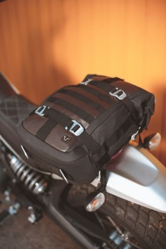 Legend Gear. The new retro luggage line for motorcycles by SW-MOTECH. Tail Bag LR1 This convenient combination of tail bag and fully fledged backpack recommends itself as a versatile companion for any tour - no matter whether by bike or on foot. For more information visit  #Ducati #Scrambler