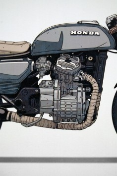 Limited edition prints by illustrator Ian Galvin, depicting the Moto-Mucci Honda CX500. $45 from moto-mucci.