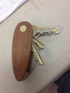Made by my brother in law! Wood pocket knife style key holder by Wouldwork