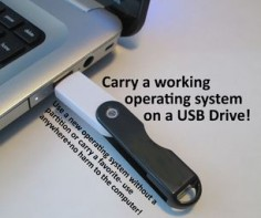 Make a Live USB to boot from a USB drive A Live USB will let you run an operating system off of a USB drive, so you can try a operating system without a partition, or carry a favorite one with you, or have an emergency backup in case your computer crashes.