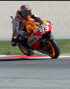 Marc marquez hard on the breaks at Misano Marco simoncelli circuit, rear wheel in the air! 2014