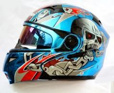 Masei 815 Blue Chrome Skull Modular Flip-Up Motorcycle Helmet FREE Ship (Limited Ed)
