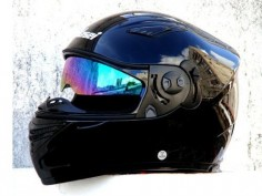 Masei Gloss Black 830 Full Face Motorcycle DOT HJC Icon Harley Helmet #Maseihelmet