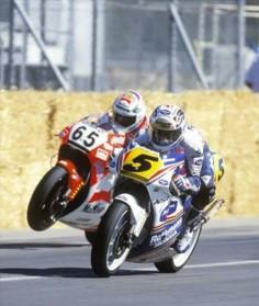 Max Biaggi y Loris Capirossi. GP de Laguna Seca 1993