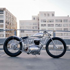 Max Hazan's incredible hand-fabricated custom, built around a vintage BSA A50 engine. For a daily dose of shots like this, follow the Bike EXIF Instagram account: