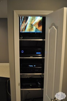Media Closet Build into basement bathroom for TV above fireplace