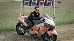 Meet the world's fastest female motorcycle rider in a standing mile, Jennifer Robertson! Robertson set a speed record of  mph on her Suzuki Hayabusa! (Photo: Zerin Dube)