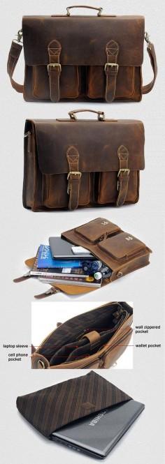 "Men's Vintage Handmade Crazy Horse Leather Briefcase / Messenger Bag -- with a 14"" 15"" Laptop / 13"" 15"" MacBook Sleeve"