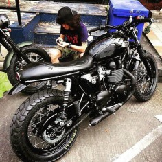 Mercenary: Murdered Out Triumph Scrambler #Triumph #Mercenary #MercenaryGarage