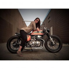 @mikesalek's lady; @K Krpan, sittin pretty on his 1975 Honda cb750 brat. definitely one of the - maverickmotorcycles