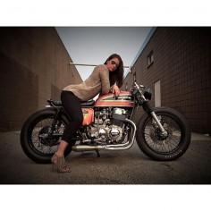 @mikesalek's lady; @K Krpan, sittin pretty on his 1975 Honda cb750 brat. definitely one of the - maverickmotorcycles
