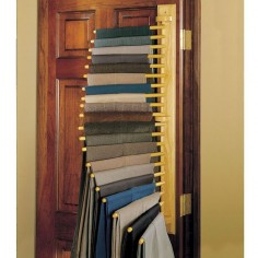More brilliance! And not just for men - I'd love one, too! All your pants, jeans, dress slacks are neatly stored, compactly, and easily viewed when you want to. YES. The Closet Organizing 20 Trouser Rack - Hammacher Schlemmer