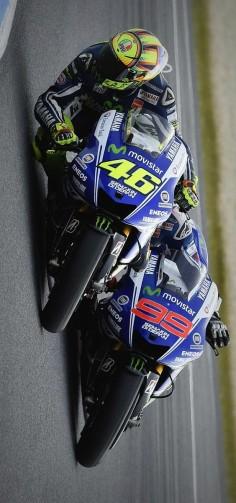 Moto GP: Rossi (left) and Lorenzo (right)