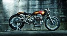 Moto Guzzi custom with monoshock rear-end, small tank and wasp-like rear cowl