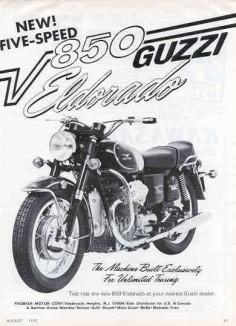 Moto Guzzi Eldorado Factory Brochure, Page 1 of 1.