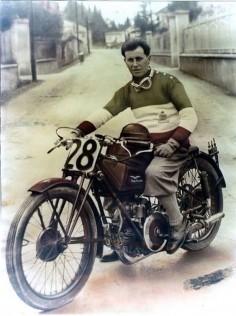 Moto Guzzi || man on motorcycle || vintage photo