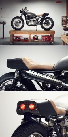 Motorcycle helmet designer Chad Hodge, famous for his retro Bell Bullitt concept, has turned his hand to building bikes. This is his first, a Kawasaki KZ750, and it's absolutely stunning.