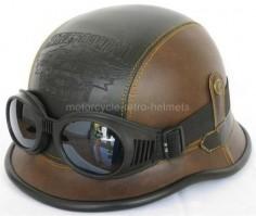 Motorcycle Helmet German WW II Nazi Brain Cap Leather Retro Triker Harley Goggles Motorbike