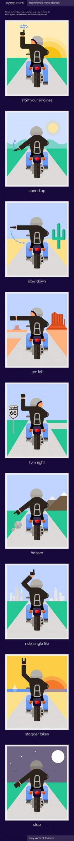 "Motorcycle riders use a variety of signals to indicate everything from ""slow down"" to ""watch out, hazard ahead."" Check out the infograph to see the top 9 motorcycle hand signals."