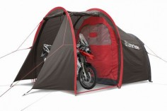 Motorcycle tent MotoTent v2  three-quarters  with BMW R 1200 GS Adventure