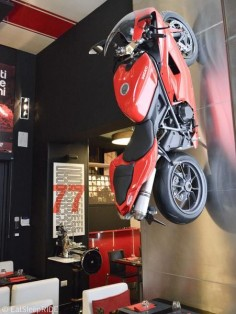 Motorcycle wall hanging at the Ducati Caffè in Roma