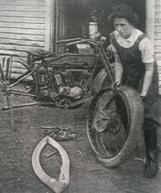 Mrs. John Lang (her first name is now lost to us) of Connecticut was one of the most accomplished motorcyclist mechanics of her day. Circa 1927. (Image from The American Motorcycle Girls: )