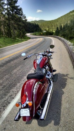 My new 2015 red Classic in the Black Hills this afternoon. | Indian Motorcycle Forum