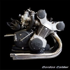 (No. 117 ~ CLASSIC 1957 GILERA 500cc RACER ENGINE, by Gordon Calder, via Flickr, 3,000,000 Views!)