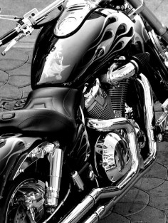 Not a Harley, not a  maybe a Honda VTX. Black and White