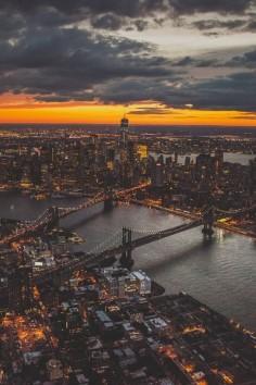NYC at dusk.