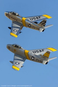 Pair of North American F-86 Sabre fighters.