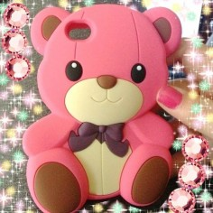 Pink 3d teddy bear iPhone 5s soft case - iPhone 4S Cases Cover - iPhone Cases
