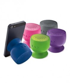 Portable waterproof & wireless speakers have a rechargeable battery that lasts up to six hours and stick to almost any surface—including your shower wall.