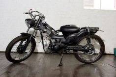 Post Modern Motorcycles modify Honda CT110s, otherwise known as postie bikes. The Blackmail model pictured.