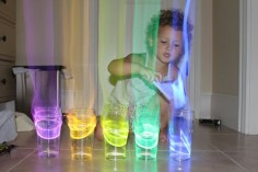 Put glow sticks in water an aura comes comes out of it when glass is tapped in dark--WAY cool!
