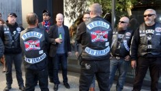 Rebels Motorcycle Club members at the 2013 launch of Dr Jarrod Gilbert's book Patched: The History of Gangs in New Zealand.