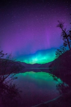 ~~REFLECTED AURORA ~ a touch of the northern lights reflecting on Christina Lake, British Columbia, Canada by Steve Hancock~~