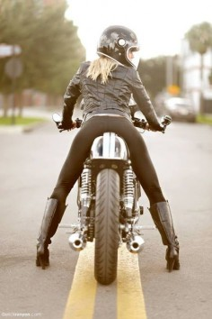 RocketGarage Cafe Racer: TX650  theres some about a her bike boots that worry me 😄