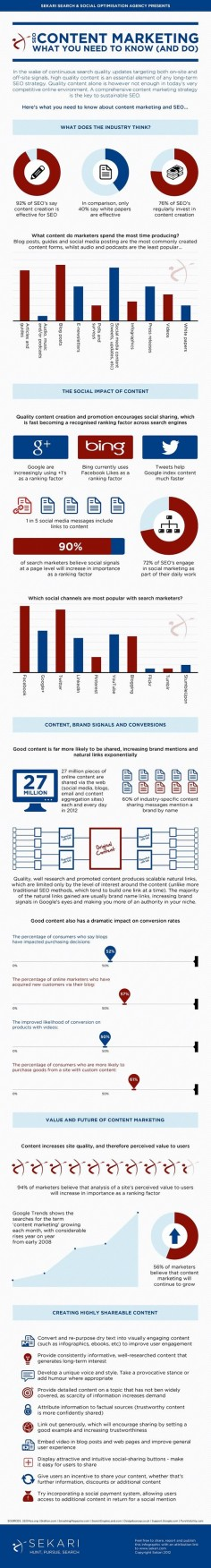 #SEO #content #marketing what you need to know and do #tips #infographic
