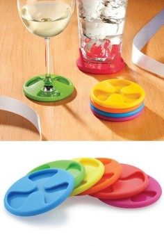 Silicone Grip Coasters (Set of 6): Colorful Coasters That Cling To Your Beverage. Also Double As Drink Markers.